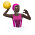 Woman Playing Water Polo: Dark Skin Tone