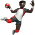 Man Playing Handball: Dark Skin Tone