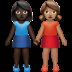 Women Holding Hands: Dark Skin Tone, Medium Skin Tone