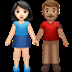 👩🏻‍🤝‍👨🏽 woman and man holding hands: light skin tone, medium skin tone Emoji on Apple Platform