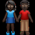 👫🏿 woman and man holding hands: dark skin tone Emoji on Apple Platform
