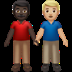 👨🏿‍🤝‍👨🏼 men holding hands: dark skin tone, medium-light skin tone Emoji on Apple Platform