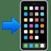 📲 هاتف محمول مع سهم الإيموجي على منصة أبل
