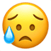 😥 sad but relieved face Emoji on Apple Platform