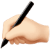 ✍🏻 writing hand: light skin tone Emoji on Apple Platform