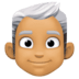 👨🏽‍🦳 man: medium skin tone, white hair Emoji on Facebook Platform