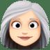 👩🏻🦳 woman: light skin tone, white hair Emoji on Facebook Platform