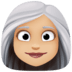 👩🏼‍🦳 woman: medium-light skin tone, white hair Emoji on Facebook Platform