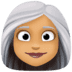 👩🏽‍🦳 woman: medium skin tone, white hair Emoji on Facebook Platform