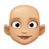 👩🏼‍🦲 woman: medium-light skin tone, bald Emoji on Facebook Platform