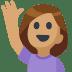 🙋🏽 person raising hand: medium skin tone Emoji on Facebook Platform