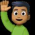 🙋🏾♂️ man raising hand: medium-dark skin tone Emoji on Facebook Platform