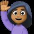 🙋🏾♀️ woman raising hand: medium-dark skin tone Emoji on Facebook Platform