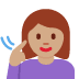 🧏🏽♀️ deaf woman: medium skin tone Emoji on Facebook Platform