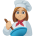 👩🏼‍🍳 woman cook: medium-light skin tone Emoji on Facebook Platform