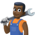 👨🏿‍🔧 man mechanic: dark skin tone Emoji on Facebook Platform