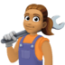 👩🏽‍🔧 woman mechanic: medium skin tone Emoji on Facebook Platform