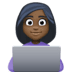 👩🏿‍💻 woman technologist: dark skin tone Emoji on Facebook Platform