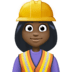 👷🏿‍♀️ woman construction worker: dark skin tone Emoji on Facebook Platform