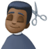 💇🏿‍♂️ man getting haircut: dark skin tone Emoji on Facebook Platform