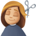 💇🏼♀️ woman getting haircut: medium-light skin tone Emoji on Facebook Platform