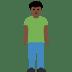 🧍🏿♂️ man standing: dark skin tone Emoji on Facebook Platform