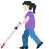 👩🏻‍🦯 woman with probing cane: light skin tone Emoji on Facebook Platform
