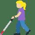 👩🏼🦯 woman with probing cane: medium-light skin tone Emoji on Facebook Platform