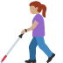 👩🏽🦯 woman with probing cane: medium skin tone Emoji on Facebook Platform