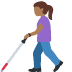 👩🏾‍🦯 woman with probing cane: medium-dark skin tone Emoji on Facebook Platform