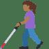 👩🏾🦯 Medium Dark Skin Tone Woman With Probing Cane Emoji on Facebook Platform