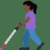 👩🏿🦯 woman with probing cane: dark skin tone Emoji on Facebook Platform