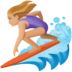🏄🏼♀️ woman surfing: medium-light skin tone Emoji on Facebook Platform
