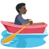 🚣🏿 person rowing boat: dark skin tone Emoji on Facebook Platform