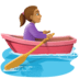 🚣🏽‍♀️ woman rowing boat: medium skin tone Emoji on Facebook Platform