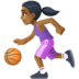 ⛹🏾‍♀️ woman bouncing ball: medium-dark skin tone Emoji on Facebook Platform