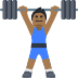 🏋🏾 person lifting weights: medium-dark skin tone Emoji on Facebook Platform