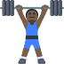 🏋🏿 person lifting weights: dark skin tone Emoji on Facebook Platform