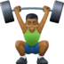 🏋🏾‍♂️ man lifting weights: medium-dark skin tone Emoji on Facebook Platform