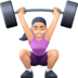 🏋🏻‍♀️ woman lifting weights: light skin tone Emoji on Facebook Platform