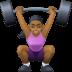 🏋🏾♀️ woman lifting weights: medium-dark skin tone Emoji on Facebook Platform