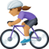 🚴🏽‍♀️ woman biking: medium skin tone Emoji on Facebook Platform