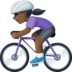 🚴🏿‍♀️ woman biking: dark skin tone Emoji on Facebook Platform