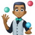 🤹🏾♂️ man juggling: medium-dark skin tone Emoji on Facebook Platform