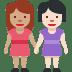 👩🏽🤝👩🏻 women holding hands: medium skin tone, light skin tone Emoji on Facebook Platform