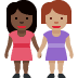 👩🏿‍🤝‍👩🏽 women holding hands: dark skin tone, medium skin tone Emoji on Facebook Platform