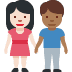 👩🏻‍🤝‍👨🏾 woman and man holding hands: light skin tone, medium-dark skin tone Emoji on Facebook Platform