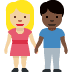 👩🏼‍🤝‍👨🏿 woman and man holding hands: medium-light skin tone, dark skin tone Emoji on Facebook Platform