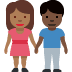 👩🏾‍🤝‍👨🏿 woman and man holding hands: medium-dark skin tone, dark skin tone Emoji on Facebook Platform