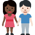 👩🏿‍🤝‍👨🏻 woman and man holding hands: dark skin tone, light skin tone Emoji on Facebook Platform
